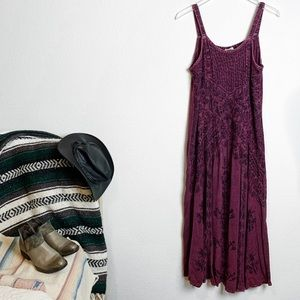 Vintage 90's Embroidered Overdyed Boho Maxi Dress